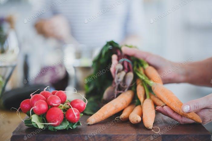 Close-up of carrots and radish