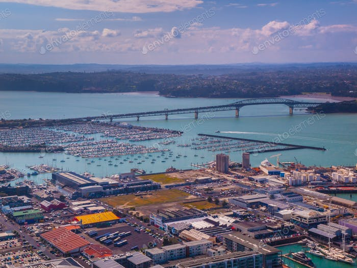 Auckland industrial harbour aerial view