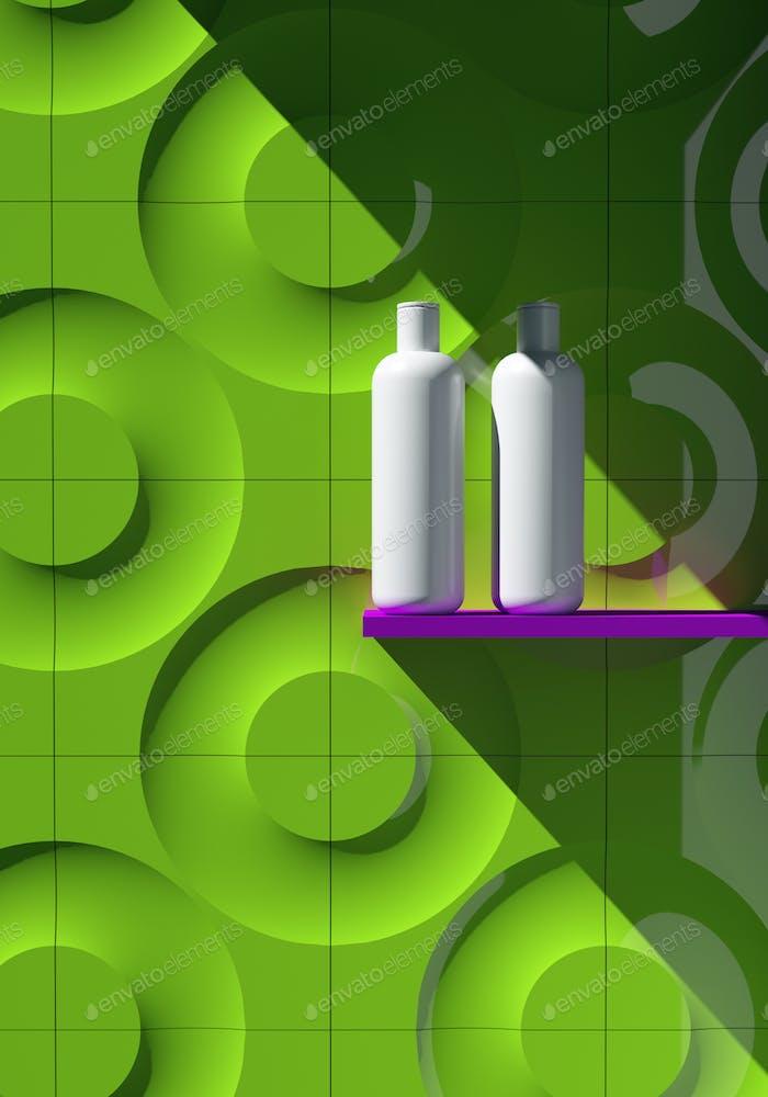 Kosmetische MarkenVorlage Raster-Verpackung Öl, Lotion, Shampoo. Bottle Mock Up Set Auf dem Regal