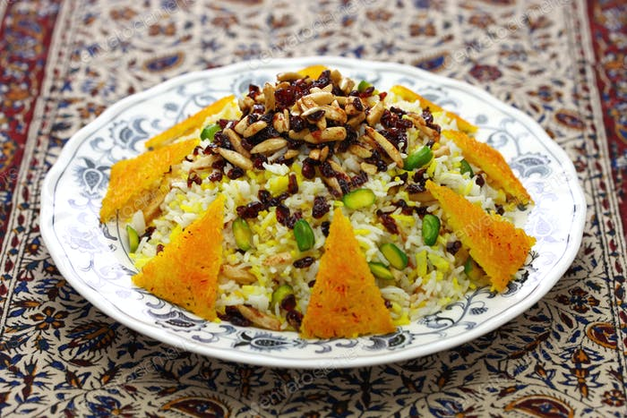 zereshk polo, barberry rice, iranian persian cuisine