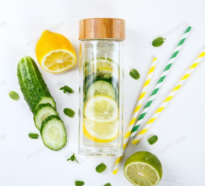 Detox Infused Water with Lemon.Healthy Beverage.