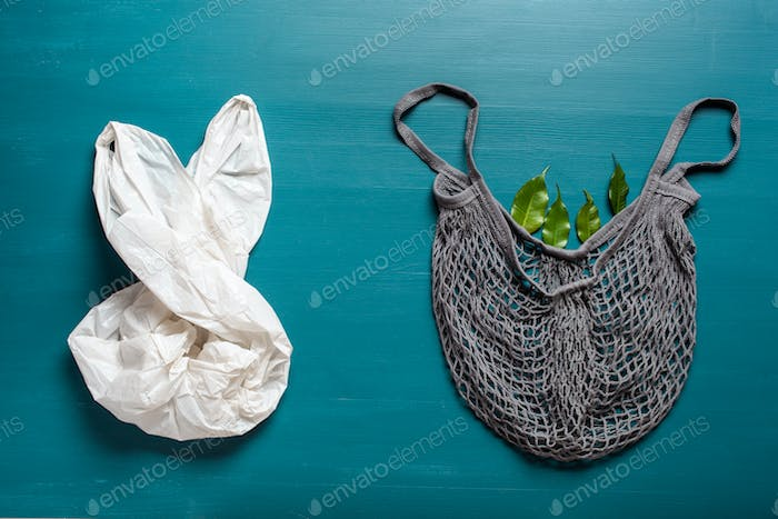 plastic and reusable mesh cotton shopping bag, plastic free zero waste concept