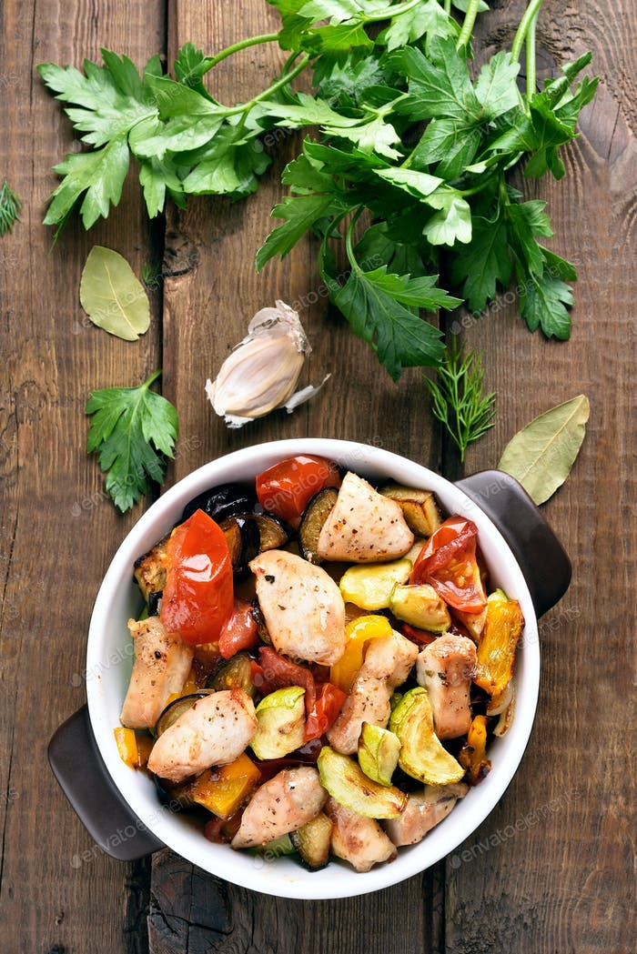 Cooked vegetables with chicken fillet