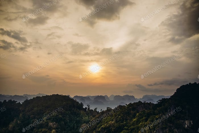 sunset in mountains of Thailand
