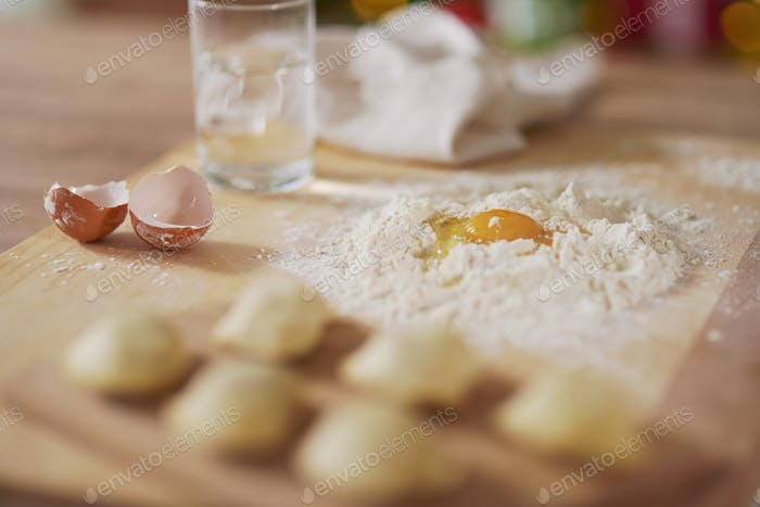 Beginning of preparation of dumplings