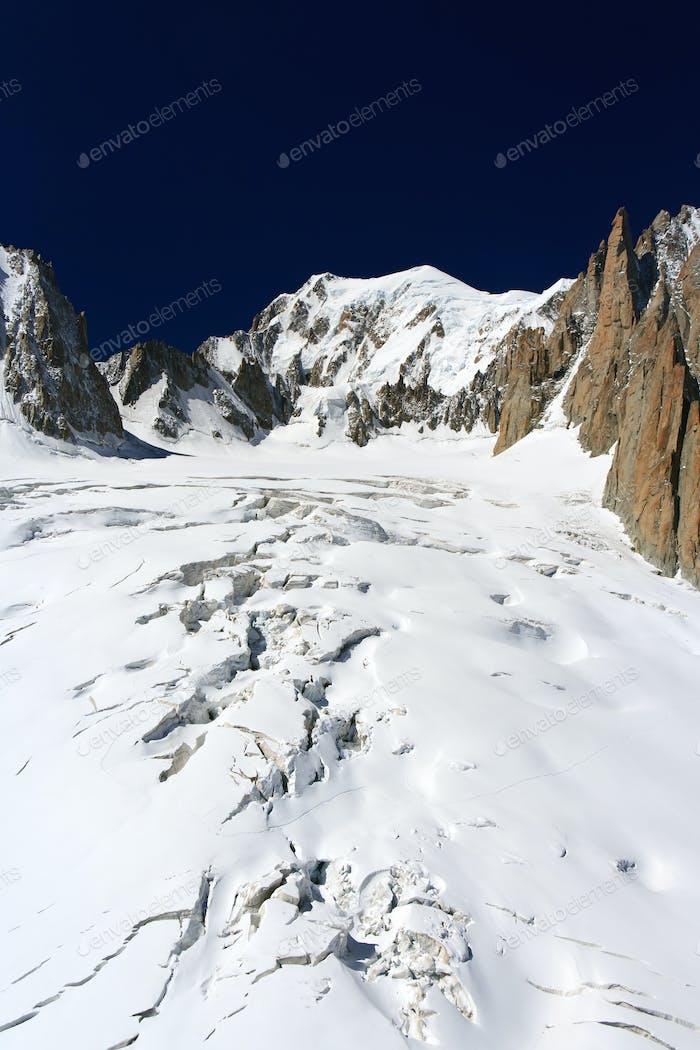 Mont Blanc massif and Mer de Glace glacier