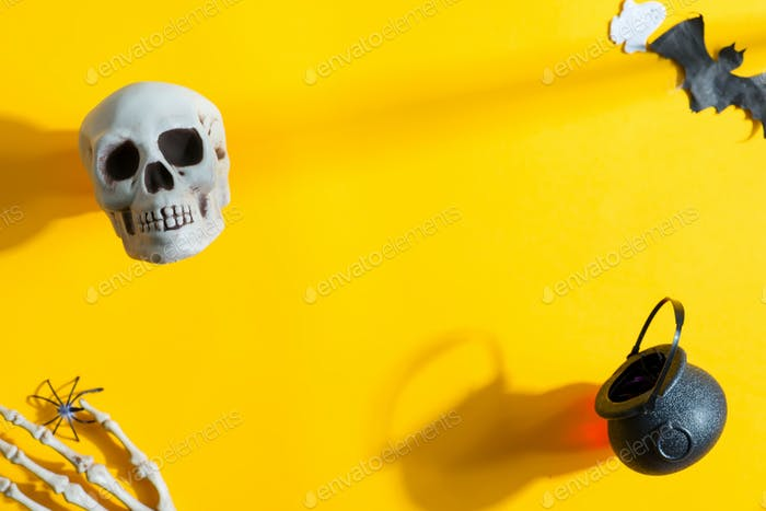 Halloween party backdrop with holiday decoration