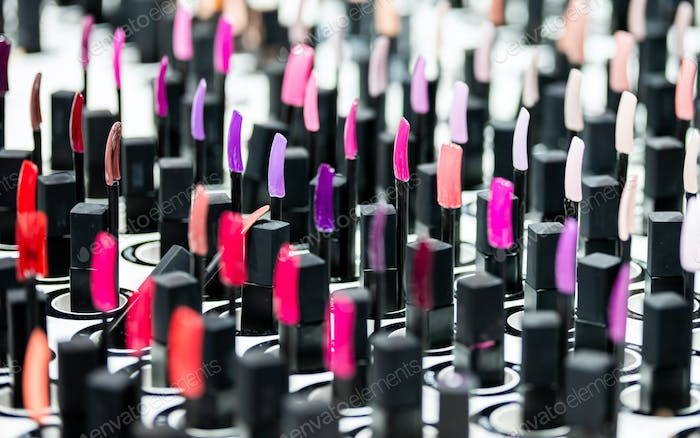 Nail polish samples on desk in beauty store