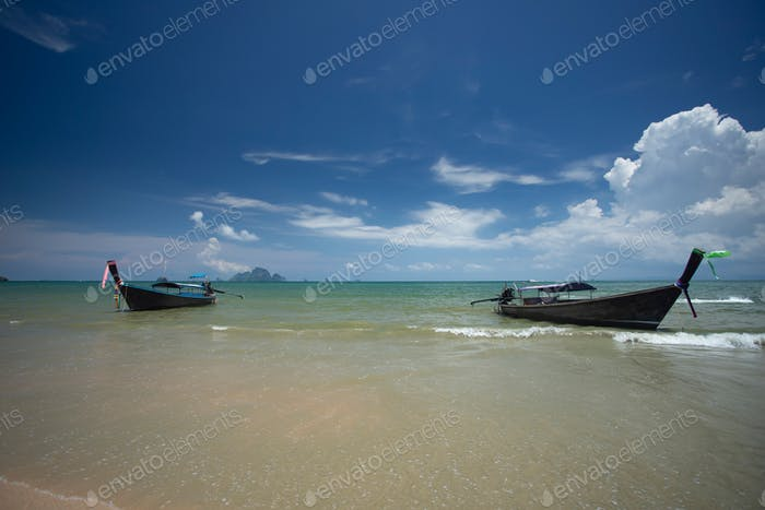 Ao Nang Beach with traditional longtail boats, Krabi, Thailand.