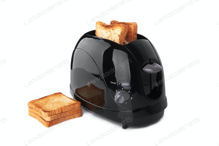Black toaster isolated