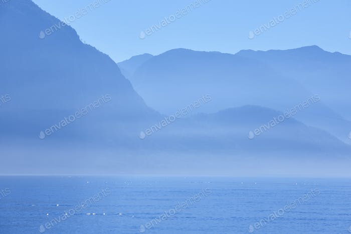 Norwegian fjord landscape at dawn in blue tone. Norway highlight. Horizontal