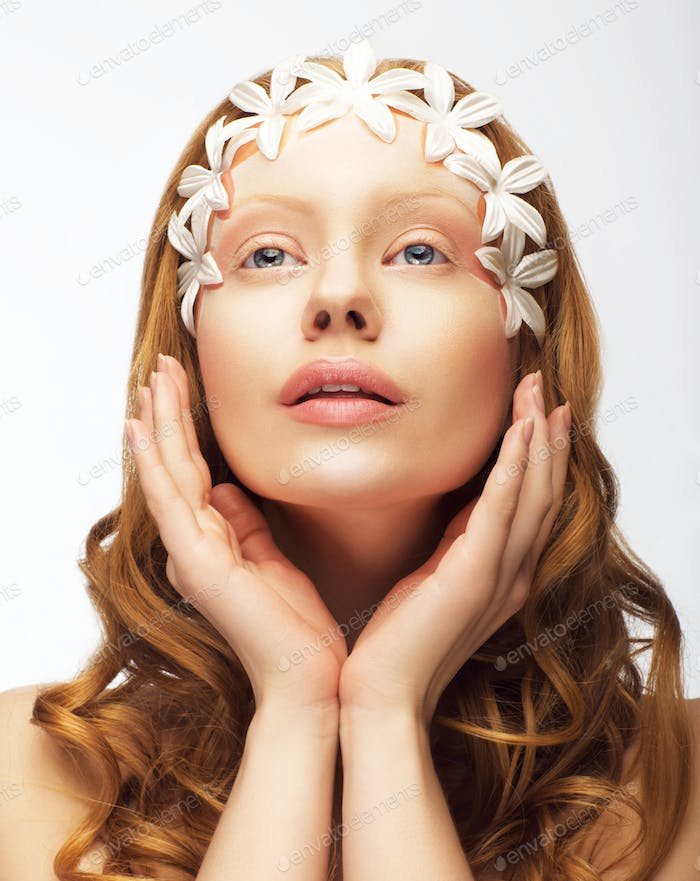 Redhair Woman with White Flowers