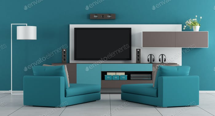 Blue living room with tv