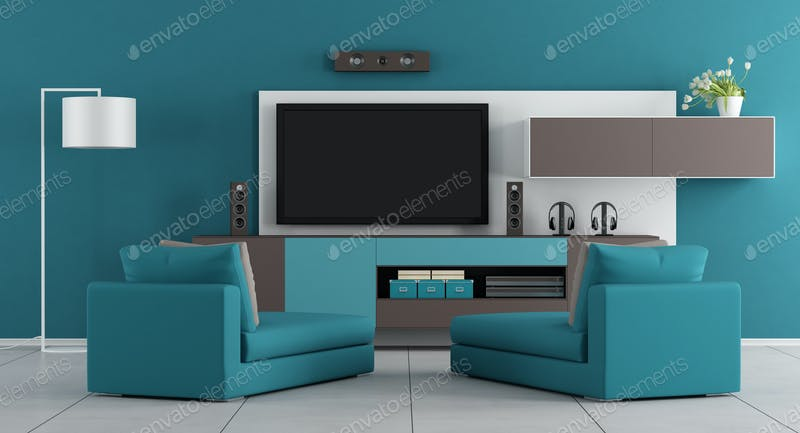 Delato Tv Meubel.Blue Living Room With Tv Photo By Archideaphoto On Envato Elements