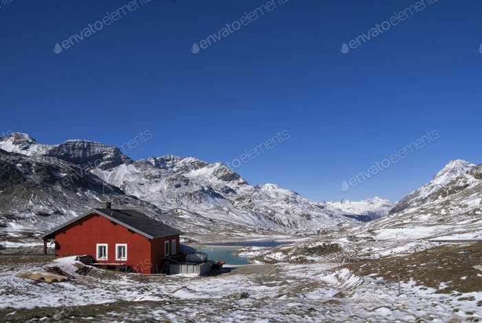 Red painted house Bernina Pass