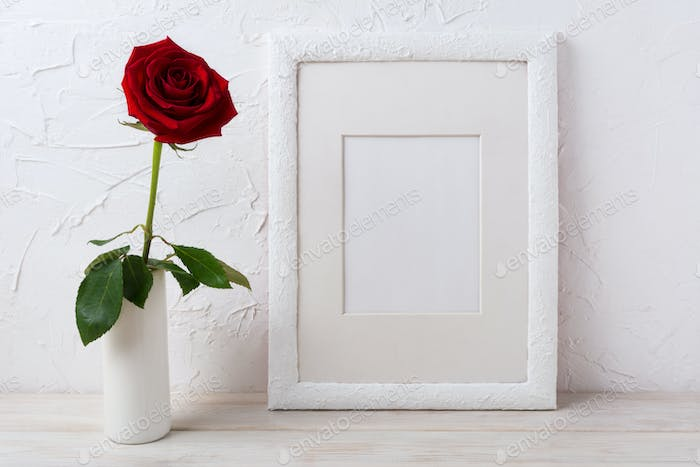 White frame mockup with dark red rose in vase