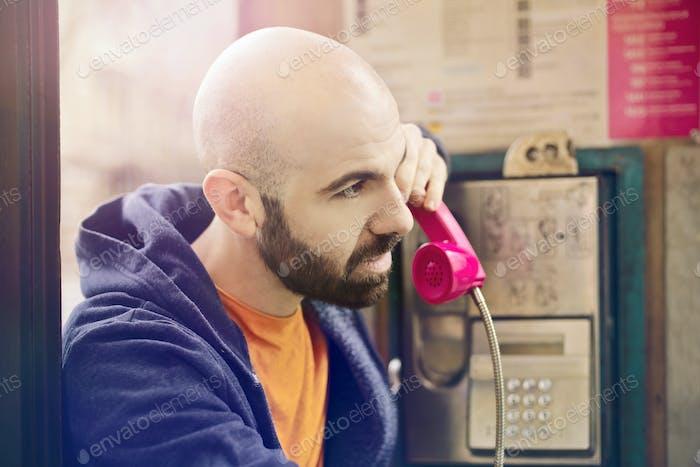 Man in a phone box