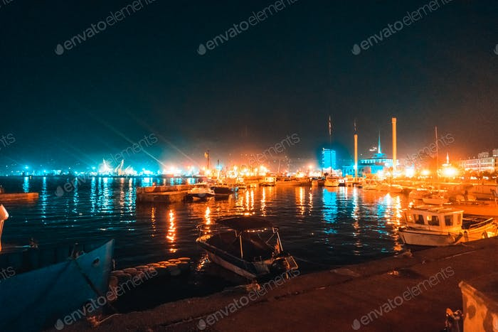 The boats stand overnight at the pier