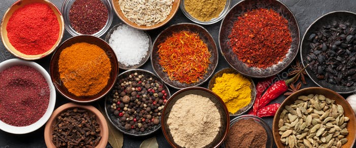 Various spices in bowls