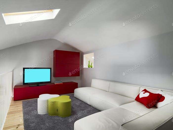 Interior of a Modern Living Room in the Attic With Wood Floor