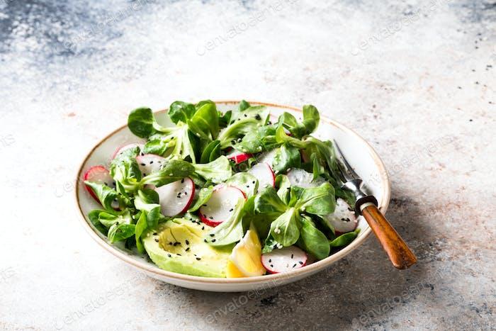Salat aus frischem Gemüse und Kräutern.Konzept der gesunden Ernährung..