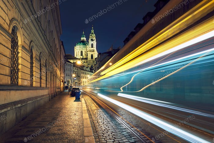 Traffic on the ancient street in Prague