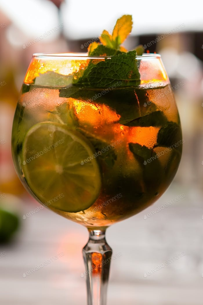 Drink with leaves of mint