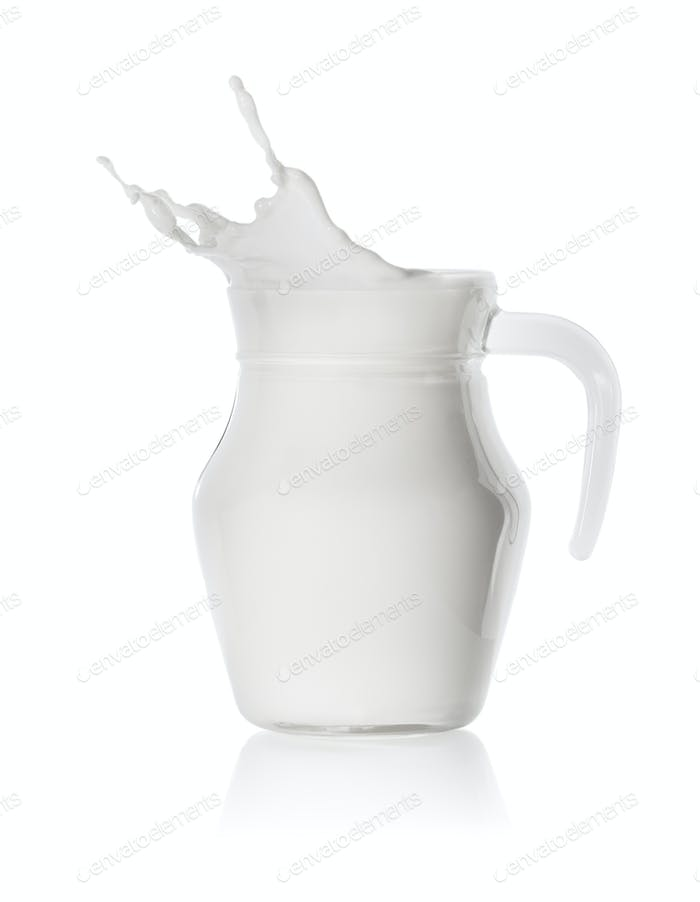 Splash of milk in a glass transparent jug