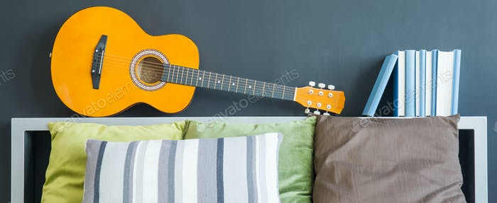 Guitar lying on shelf