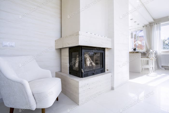 Fireplace in bright house