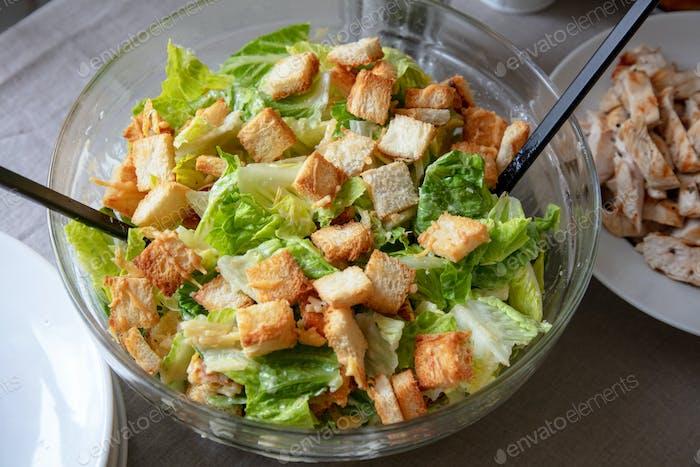 bowl of cesar salad