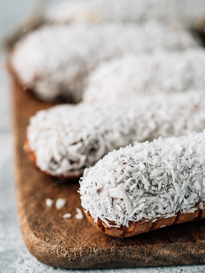 Healthy eclairs with coconut, vertical