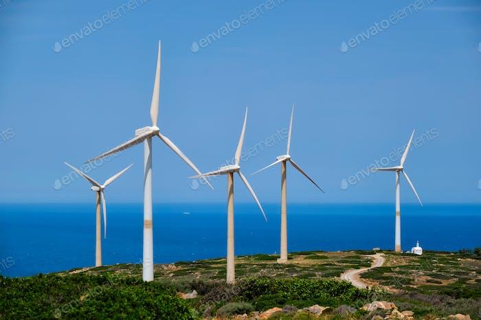 Wind generator turbines. Crete island, Greece