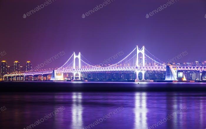 Busan city with suspension bridge