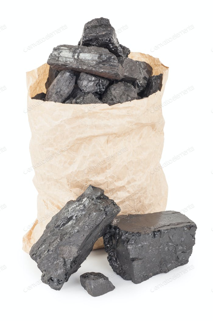 Paper bag with coal