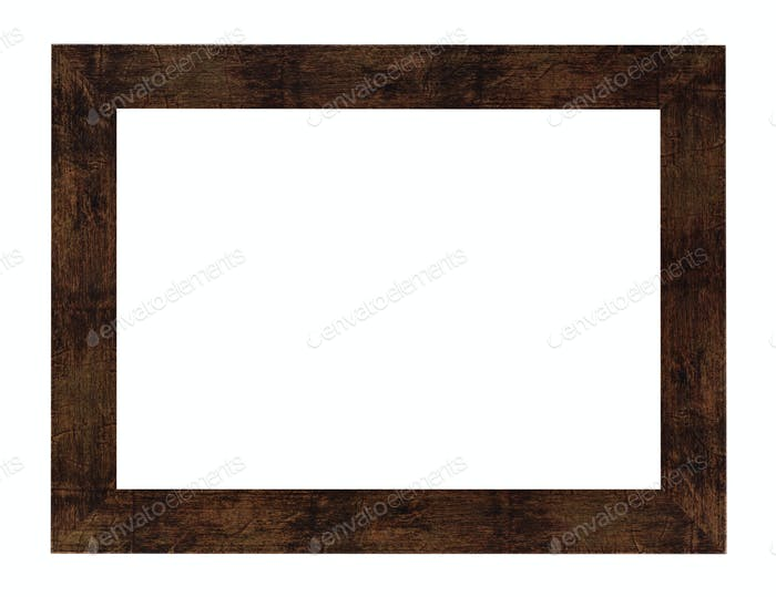 flat brown painted wide wooden picture frame