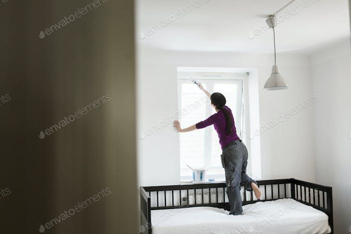 Frau Malerei Fenster