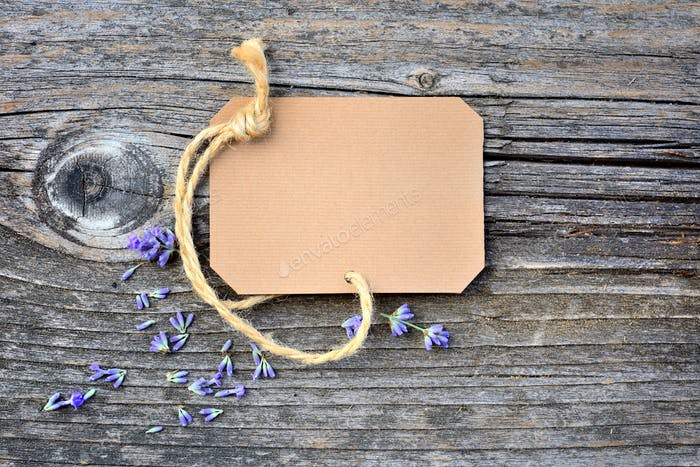 Lavender flowers (Lavandula) with paper tag on an old wooden tab