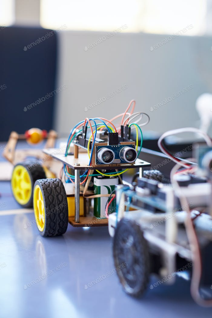 Close Of Robot Vehicle In School Computer Coding Class