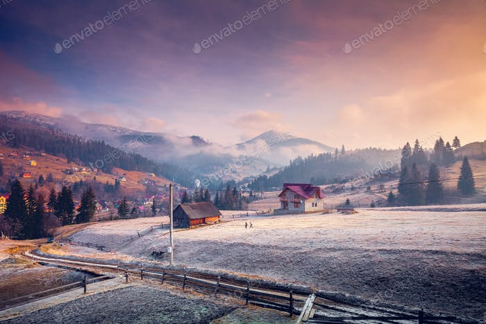 Carpathian Village and mountains