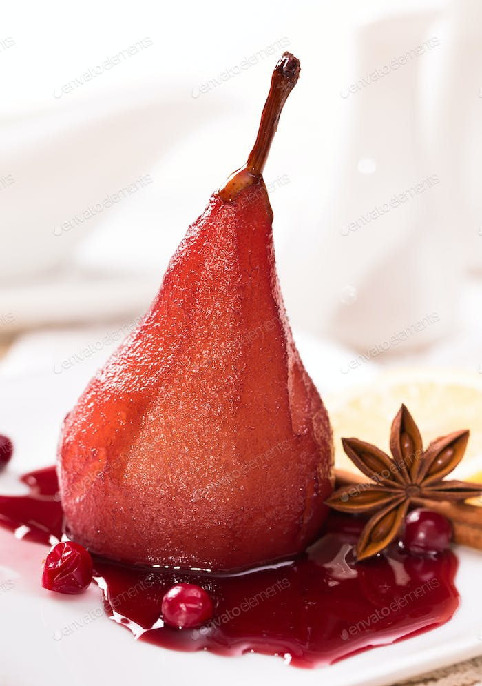 Poached pear with red wine sauce