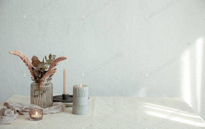 Minimalistic composition with Scandinavian home decor details copy space.