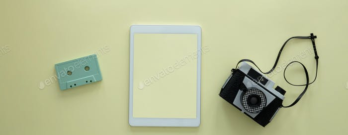 Tablet with empty yellow screen
