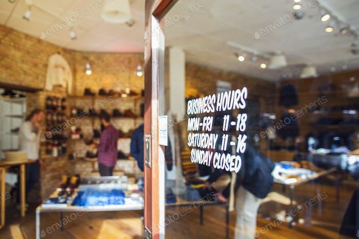 Detail of door in clothing store