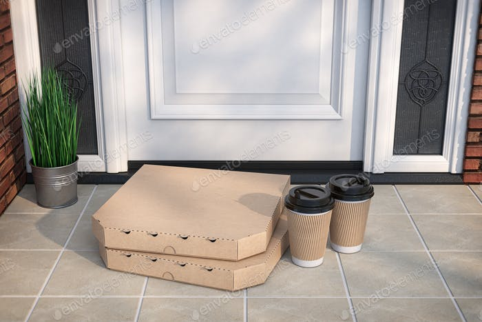 Pizza and coffee buying online and devilery. Pizza cardboard boxes and coffee plastic cup