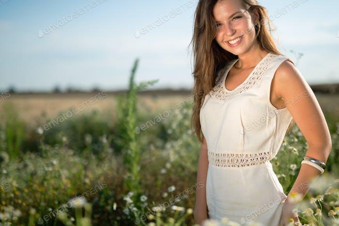 Beautiful happy woman outdoors