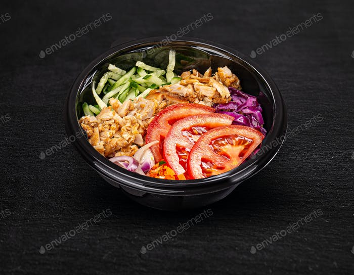 Fresh salad with chicken breast