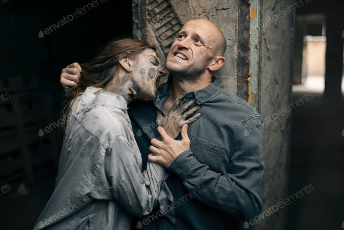 Female zombie bites a man in the neck, death trap