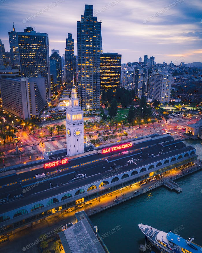 Aerial view of San Francisco at Night