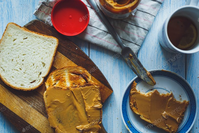 Peanut butter sandwiches or toasts